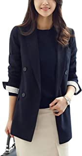 Women's Spring Casual Notch Lapel Double Breasted Blazer...