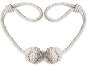 BUZIO 2 – Pack Window Curtain Rope Holdbacks – Decorative Hand-Knitted Cord Cotton Tiebacks for Blackout Curtain, Beige