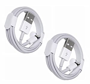 iPhoneUSBCable(6ft) Apple Chargers for iPhone iPad USBto Lightning Cable Fast Charging Data Sync Transfer Cord Compatible with iPhone 12/11/11 Pro/Xs/XR/X/8/7/7 Plus iPad - 2Pack White