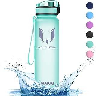 MAIGG Best Sports Water Bottle - 17oz & 32oz - Eco Friendly & BPA-Free Plastic - Fast Water Flow,  Flip Top,  Opens 1-Click - Reusable Leak-Proof Lid