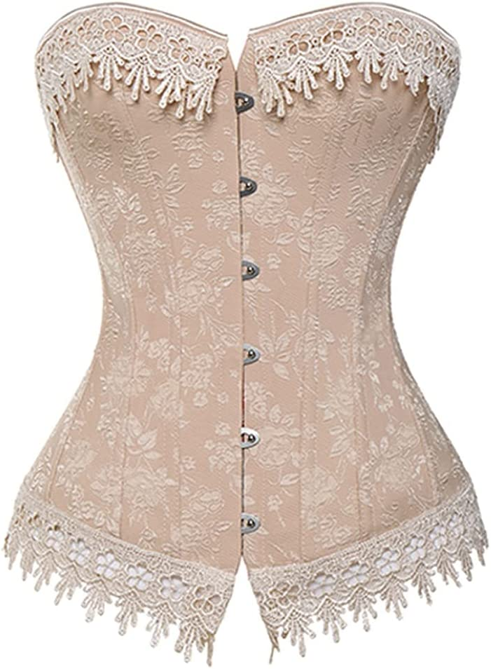 ZZABC SSYNVSH Lace Up Corsets Bustiers Overbust Waist Trainer Em