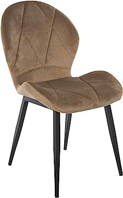 DRW Set de 4 sillas con Patas de Metal Negro y Asiento y Respaldo en Terciopelo Beige 50x64x90cm, Alt. Patas 40cm