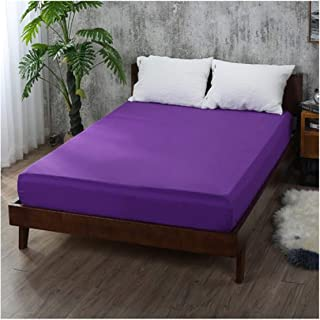 Solid Fitted Sheet Mattress Cover Printing Bedding Linens Plain Bed Sheets with Elastic Band Double 160x200cm Coffee,Purple,160x200x25cm