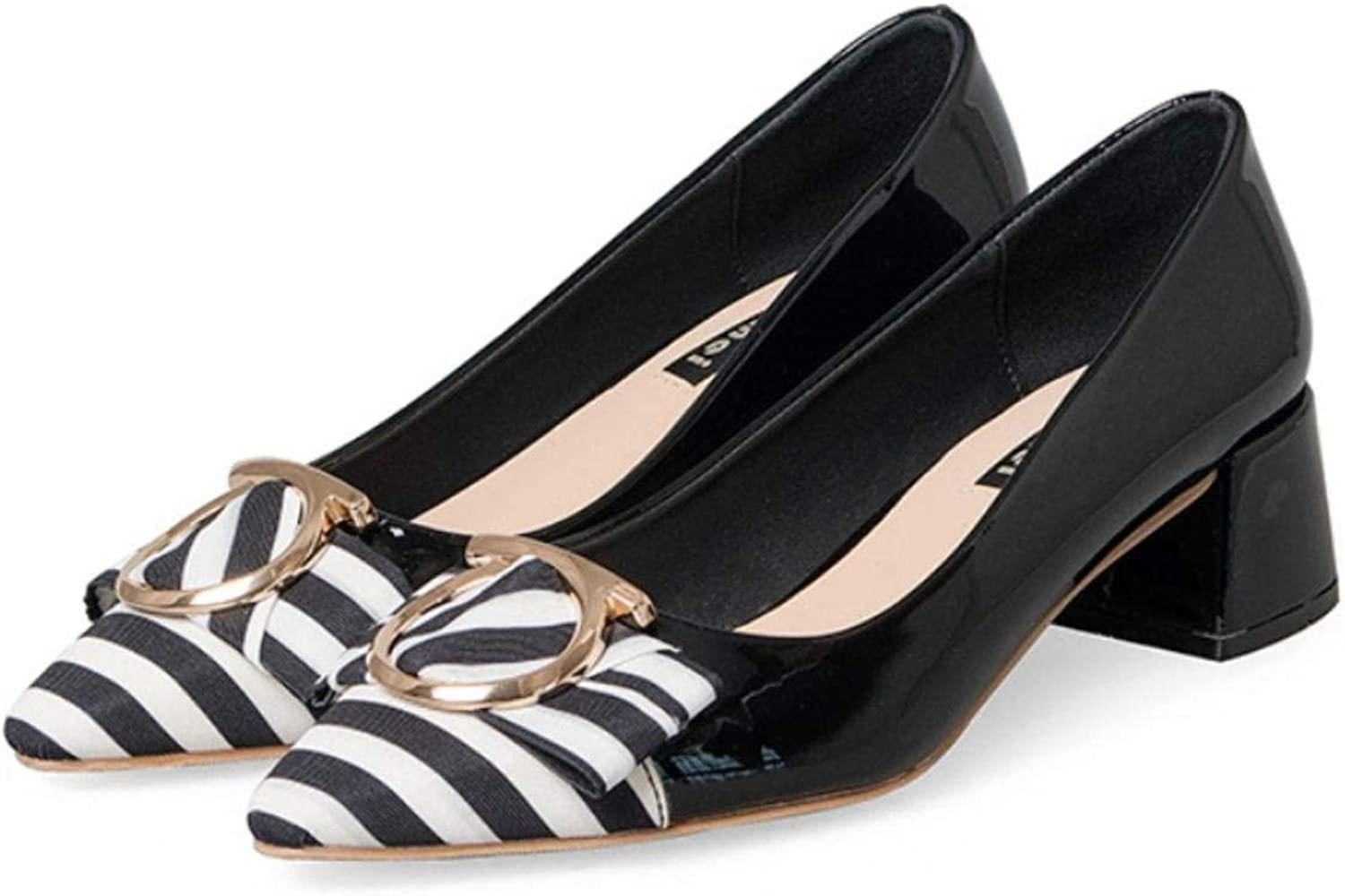 So8ooa Lady shoes Women's Court shoes Striped Patent Leather shoes Pointed Thick with a shoes High 4.13cm Black Pink Quality Elegant for Women