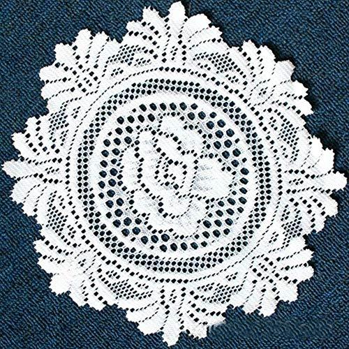 Candy House Juego de 4 manteles Individuales de Ganchillo de Encaje, decoración para el hogar, Cocina, sofá, Taza Redonda, Posavasos, Color Blanco Rosa de 12 Pulgadas