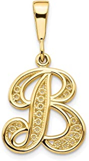 14k Yellow Gold Initial Monogram Name Letter B Pendant Charm Necklace Fine Jewelry Gifts For Women For Her