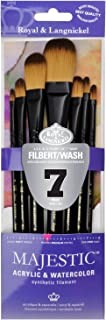 Majestic Royal and Langnickel Short Handle Paint Brush Set, Filbert and Oval Wash, 7-Piece