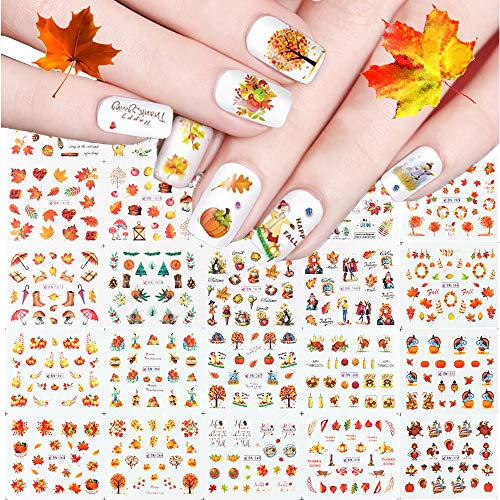 Kalolary 24 Sheets Fall Autumn Nail Stickers Decals Thanksgiving Nail Art Accessories Decals Maple Leaf Pumpkin Turkey Squirrel Water Transfer Nail Decals for Women Girls Kids Thanksgiving Day Gift