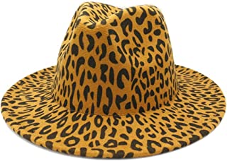 2019 Mens Womens Hats Wool Women Men Felt Trilby Fedora Hat ForElegant Lady Wide Hat for Women Brim Top Leopard Grain Cloche Jazz Sombrero Cap Panama Chapeu Feminino (Color : 4, Size : 56-58CM)