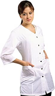 JMT Beauty 3/4 Sleeve White Salon Smock (M (8))