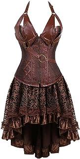 فستان مشد تنكري مقاس كبير من الدانتيل مطرز القوطي القوطي مع تنورة صدرية تنكرية