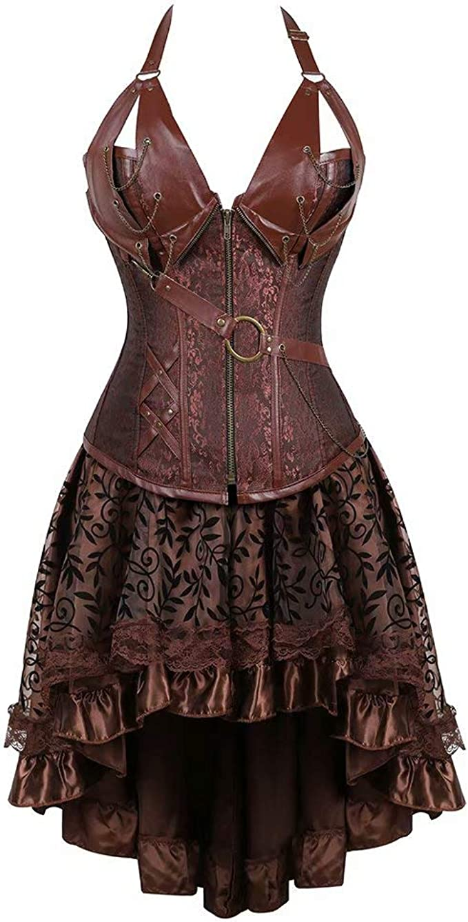 Steampunk Dresses   Women & Girl Costumes Corset Dress Plus Size Masquerade Gothic Brocade Lace Gothic Bustier Skirt Set Costume  AT vintagedancer.com