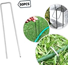· Petgrow · 6 Inch Garden Stakes Galvanized Landscape Staples,U-Type Turf Staples for Artificial Grass, Pin Stakes for Securing Fences Weed Barrier, Outdoor Wires Cords Tents Tarps,50 Pack