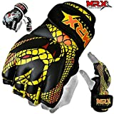 MRX MMA Grappling Gloves Cage Boxing Fight, Snake Design Black/Yellow (Medium)