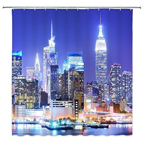 Feierman New York City Night Shower Curtain Decor Bright Lights Modern City Bathroom Curtain Decor Machine Washable Fabric Bathroom Decor Set with Hooks 70x70Inches