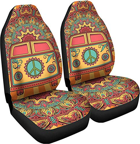 Enoqunt Fundas de asiento de coche hippie