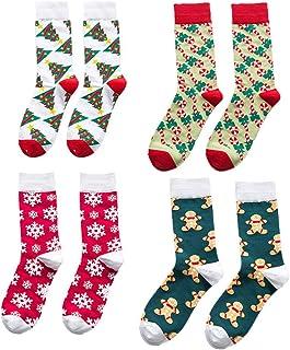 TOYANDONA, 4 pares de calcetines navideños para hombres y mujeres, cálidos calcetines acogedores de invierno coloridos calcetines navideños para adultos