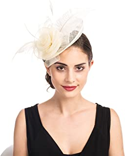 Fascinators Hat Sinamay Flower Mesh Feathers on a Headband and a Clip Tea Party Headwear for Girls and Women