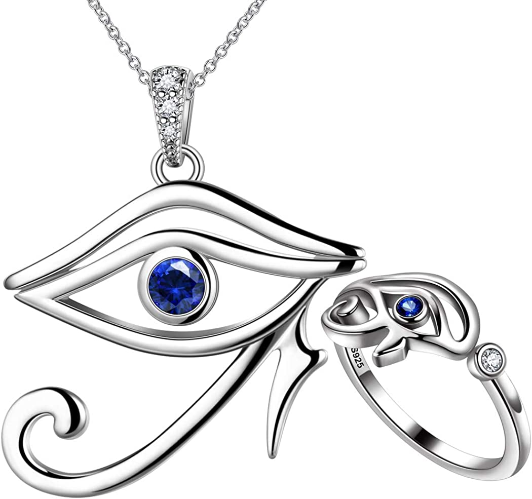Egyptian Eye of Year-end annual account Horus List price Jewelry Set Gift Women Silver Sterling 925