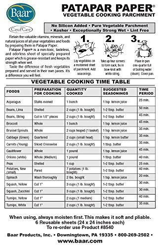 """Baar Patapar Paper, Vegetable Cooking Parchment - 24""""x24"""", 6 Reusable Sheets"""