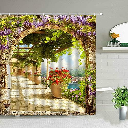 Tenda da doccia paesaggio architettura americana strada giardino vite paesaggio stampa decorazione schermo bagno S.9 180x180cm