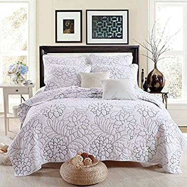 Best Comforter Set Shylock White Embroidered 3-Piece Cotton Bedspreads Quilts Set Queen
