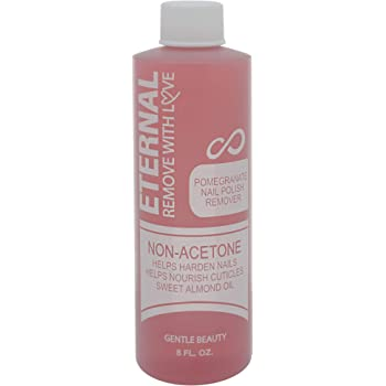 Eternal Cosmetics Non-Acetone Nail Polish Remover with Pomegranate Extract, Alpha Hydroxy Acids and Sweet Almond Oil – For Natural, Gel, Acrylic or Sculptured Nails (8 FL. OZ.)
