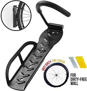 Hanging Bike Rack Wall Mount with Anti Dirt Tire Cover, Heavy Duty Bike Stand for Garage Storage Shed Shelving Hanger Hook, Holds Up to 66 lbs for Mountain Bike Road Bike BMX Bikes, Screws Included