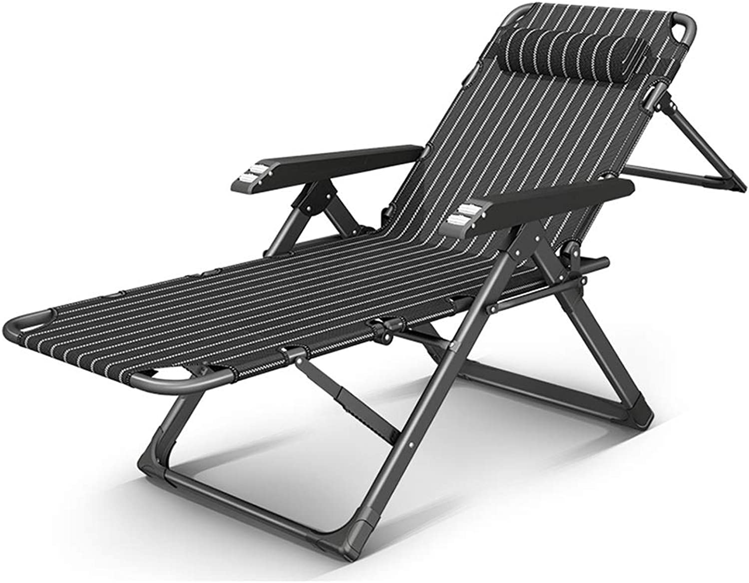 XEWNEG Sun Lounger,Folding Bed Leisure Chair, Adult Home Beach Chair, 5Position Backrest Adjustment with Removable Cotton Pad(178×64×41cm) (color   A)