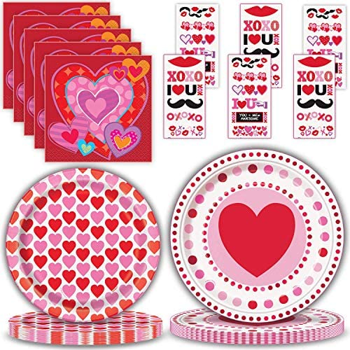 Valentine s Day Party Supplies for 24 Large Disposable Paper Plates 9 Dessert Plates 7 Beverage product image