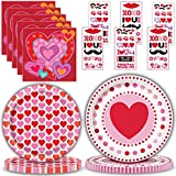 """Valentine's Day Party Supplies for 24 - Large Disposable Paper Plates 9"""", Dessert Plates 7"""", Beverage Napkins, Temporary Tattoos - Great Valentines, Heart and Love Themed Tableware & Decorations"""