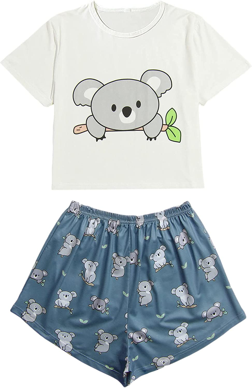 SheIn Women's Plus Size Cute Printed Sleepwear Tee and Shorts Pajama Set