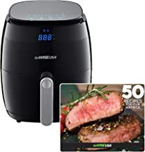 GoWISE USA 5.0-Quart 1500-Watt Digital Air Fryer with 8 Presets, GW22821-S + 50 Recipes (Black)