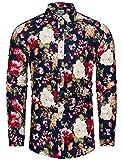 fohemr Camisa de Manga Larga Floral Casual con Botones y Estampado de Flores para Hombre algodón Estampado Floral Beige XX-Large