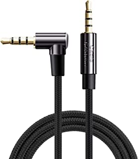TRRS Cable,CableCreation 6FT 3.5mm Male to Male 90 Degree Audio Stereo HiFi Cable with Silver-Plating Copper Core Compatible with Car, iPhones, Speakers, PS4 Headset, Xbox one, Black