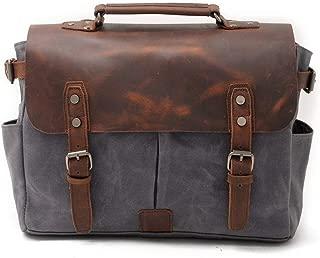 Mens Bag 14 inch Laptop Briefcase Waxed Canvas Genuine Leather Handbag Men Business Vintage Messenger Shoulder Bag High capacity