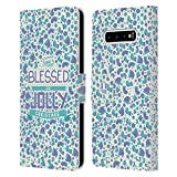 Head Case Designs Accesorios Navidad Bendita Carcasa de Cuero Tipo Libro Compatible con Samsung Galaxy S10+ / S10 Plus