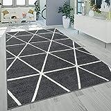 Alfombra Salón Pelo Corto Moderna Diseño Geométrico Motivo Rombos Antracita, tamaño:200x280 cm