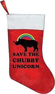 FQWEDY Save Chubby Unicorn Rainbow Christmas Stockings Cute Santa Gift Bag Xmas Holiday Decorations Party Ornaments
