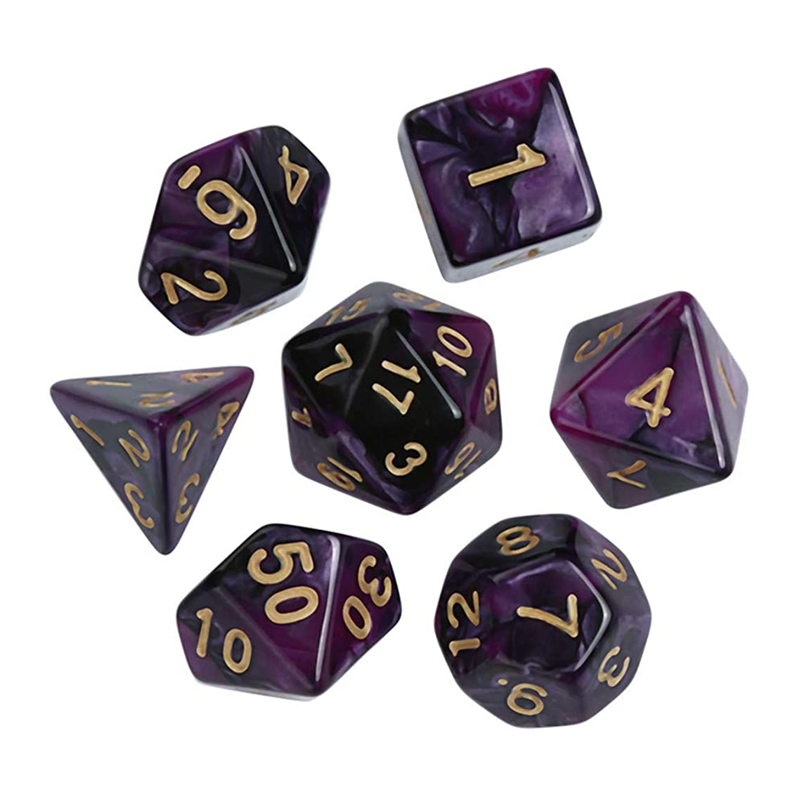 Huaa Polyhedral 7-Die Dice Set for Dungeons and Dragons with Black Pouch