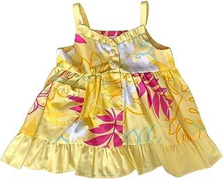 RJC Girl's Monstera Plumeria Line Art Ruffle Flare Dress