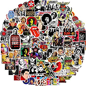 Band Stickers 200 Pack Rock and Roll Music Stickers Rock Punk Stickers for Adults Teens Cool Vinyl Stickers for Water Bottle Electronic Organ Guitar Piano Helmet Waterproof Graffiti Decals