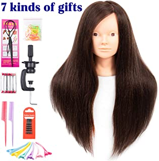 Mannequin Head with Human Hair 60% Straight Professional Bride Hairdressing Training Head with Stand Cosmetology Doll Head for Styling Braid Curl Cut Practice(26 inch without make-up, 4#)