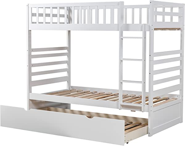 Rhomtree Twin Over Twin Bunk Bed With Trundle Wood Bed Frame With Slats Ladder Bedroom Furniture For Kids White