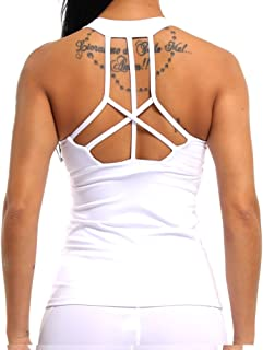 Women Yoga Tank Top Workout Tops Open Back Racerback Built in Bra Removable Pad …
