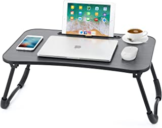 Laptop Desk Newvante Bed Table Tray for Eating Writing Drawing Foldable Desk with iPad Slots for Adults/Students/Kids, Black