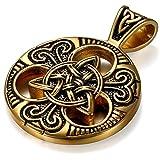 JewelryWe Collar con Colgante Nudo Celta Retro Colgante Amuleto Moneda Acero Inoxidable Dorado, Collar de Hombre Original