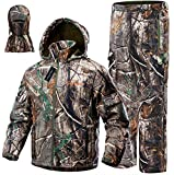 NEW VIEW 2020 Upgrade Hunting Clothes for Men,Silent Water Resistant Hunting Suits,Camo Hunting Camouflage Hooded Jacket,Hunting Pants (M, Upgrade Camo Leaf)
