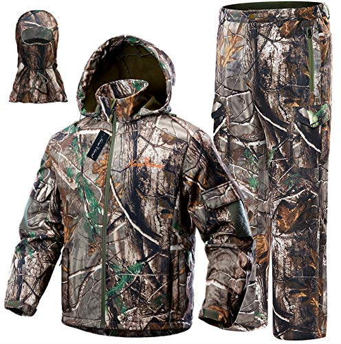 NEW VIEW 2020 Upgrade Hunting Clothes for Men,Silent Water Resistant Hunting Suits,Camo Hunting Camouflage Hooded Jacket,Hunting Pants (S, Upgrade Camo Leaf)