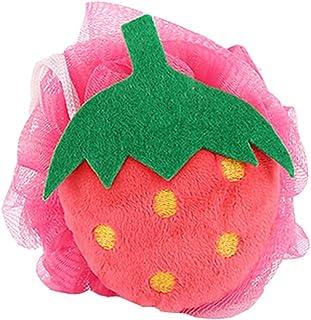 4Pcs Cute Strawberry Soft Mesh Bath Sponge Brush Exfoliation Massage Scrubber